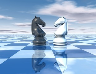 beautiful blue, reflective abstract background with chess horses