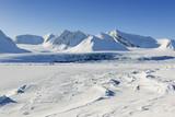 Zobacz z opakowaniem lodu zamrożonego Van Mijenfjorden, Spitsbergen.