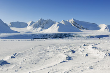 View on with pack ice frozen Van Mijenfjorden, Spitsbergen.
