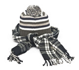 warm woolen knitted winter hat and scarf