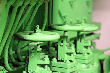 The valves in the engine room