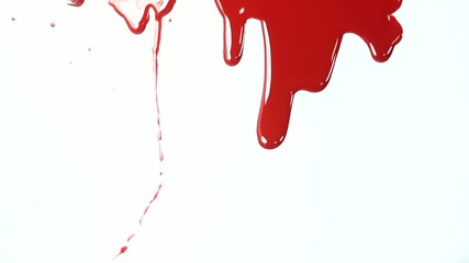 Blood flows on white background