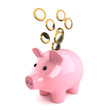 Cute pink piggy bank with euro coins falling