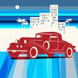 Vintage retro car background, vector illustration