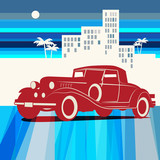 Vintage retro car background, vector illustration