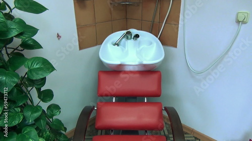 chair and head hair washbasin sink at barber hairdresser salon