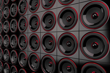 Lautsprecher Wand - Schwarz Rot 2
