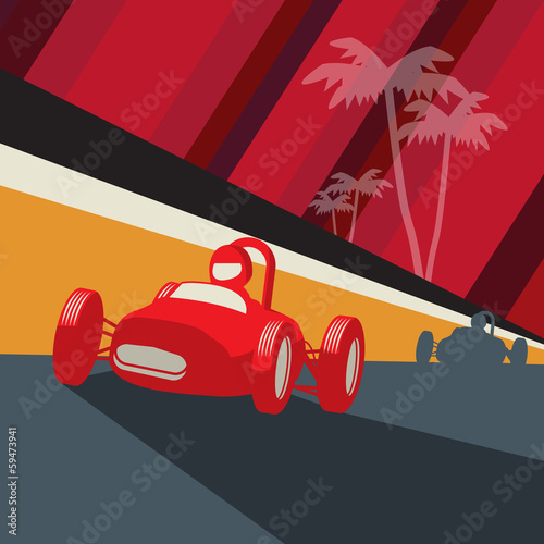 Vintage race car, vector illustration