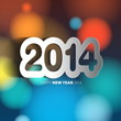 Happy New Year 2014 background with papercut year - vector illus