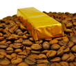 Isolated image of a chocolate bar on coffee beans closeup