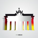 Brandenburg Gate from paper - Berlin - Germany - Card vector ill