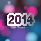 Happy New Year 2014 background with papercut year - vector illus poster