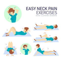 vector illustration easy neckpain exercises