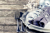 Fototapety Christmas table setting in silver tone
