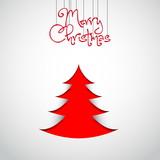 Simple vector christmas papercut tree - original new year card poster