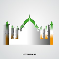 Taj Mahal from paper card - vector illustration