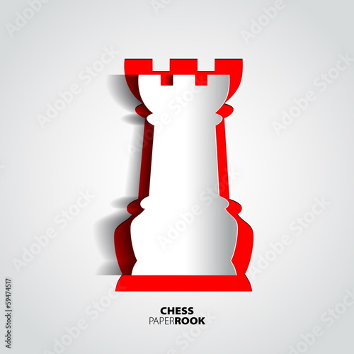 Rook chess piece from paper - vector illustration