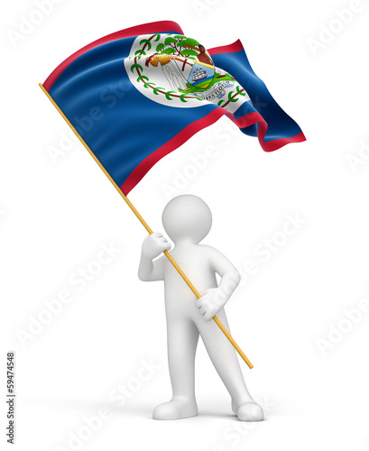 Man and Belize flag (clipping path included)