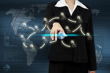 Hand of businessman touching virtual screen the social network c