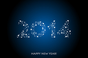 Vector 2014 Happy New Year background with snowflakes