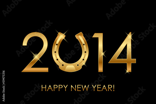 Vector 2014 background with gold horseshoe for good luck (year o