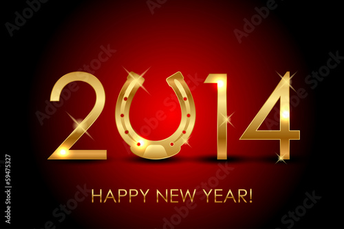Vector 2014 year (year of the horse) background with gold horses