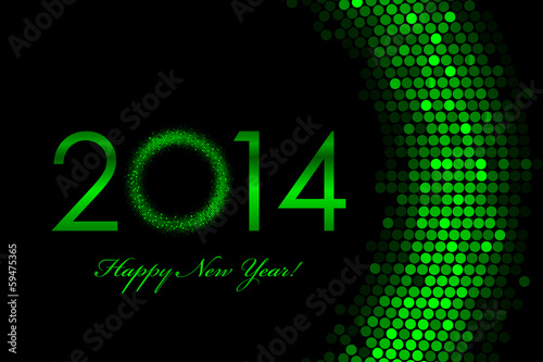 Vector 2014 green background - Happy New Year