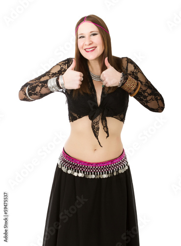 belly dancer thumbs up