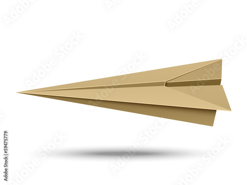 Paper airplane isolated on white background