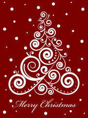 Vector gold ornate Christmas tree on red background