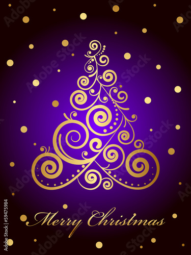 Vector Merry Christmas card with gold ornate Christmas tree