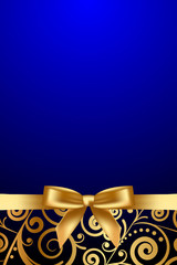 Vector blue and gold luxury frame with gold ribbon