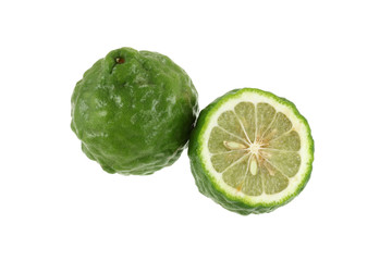 Fresh and shiny Kaffir Lime cut in half