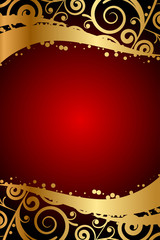 Vector red frame with gold ornaments