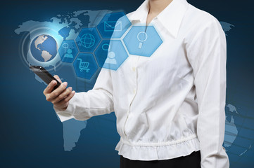 Business woman showing virtual global communication. Concept of