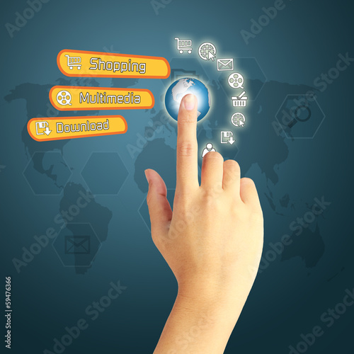 hand pressing social media icon on blue background with world ma
