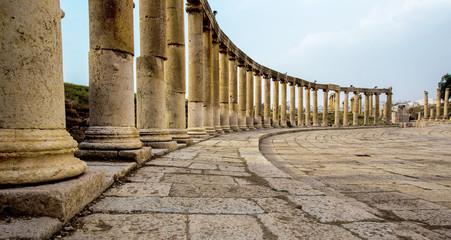Ancient Greek and Roman columns in Jerash, Jordan