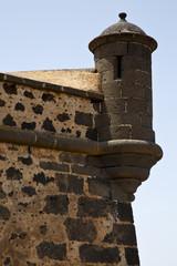 spain the old wall caand door  in teguise arrecife lanzarote