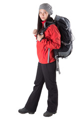 Asian Malay female with hiking attire and backpack.