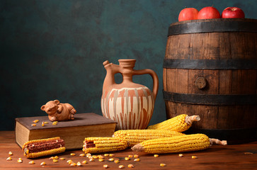 Wooden barrel and corn