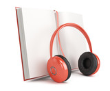 open book and  headphones