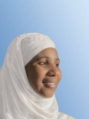 Beautiful African woman wearing a white veil