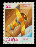 "CUBA - CIRCA 1983: stamp printed by CUBA, shows ""soyuz"" satellit"