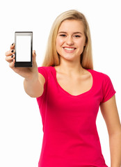 Beautiful Woman Showing Smart Phone