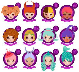 Set of Twelve Zodiac Signs, Kawaii Style
