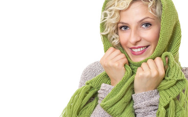 Female wrapped with wool scarf and cap