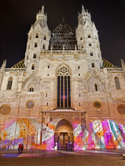 Vienna - st. Stephen cathedral in winter night from west