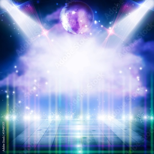 Poster Licht, schaduw Abstract disco ball_Background with flashing lights.