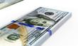 Stack of Dollar Bills on white background