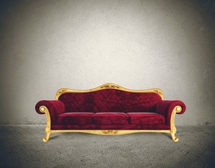 Success concept with comfortable retro sofa